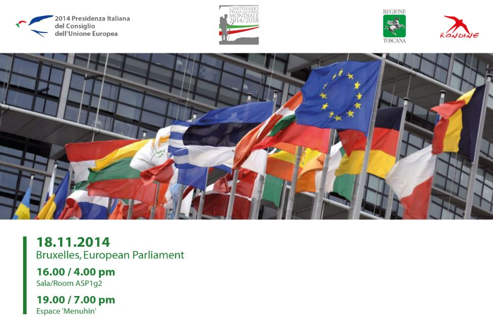 Europe. A new consciousness to overcome a century of wars. Tuesday 18 November 2014 – 16.00 Bruxelles, European Parliament