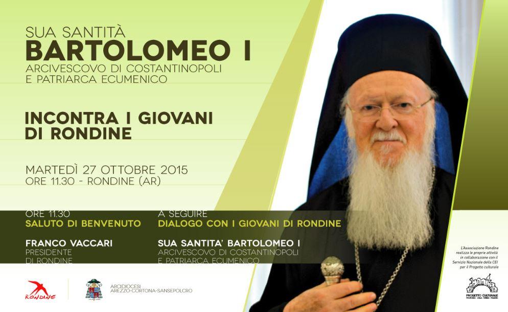 Il Patriarca Ecumenico di Costantinopoli Bartolomeo a Rondine per il dialogo tra religioni e la pace