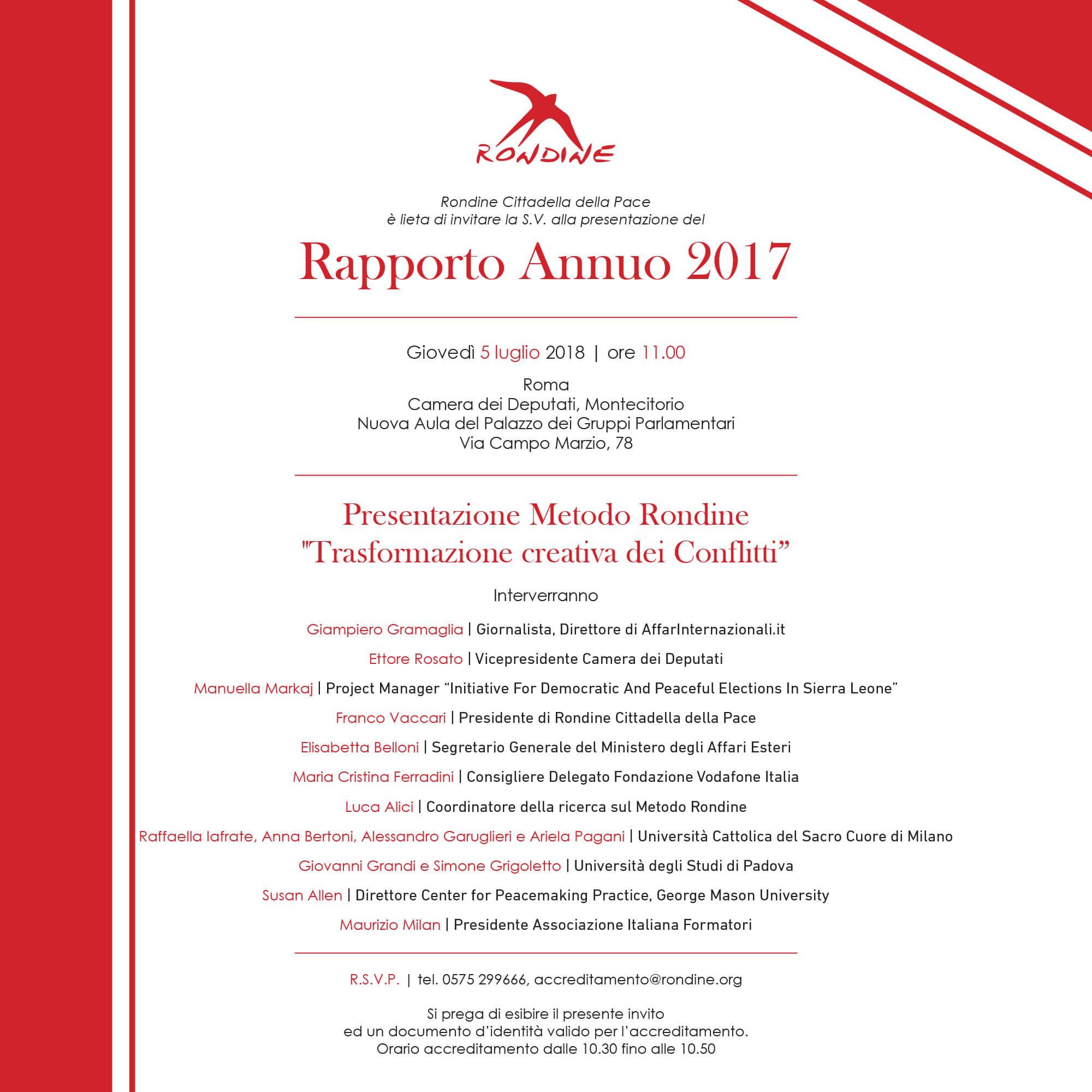 Rapporto Annuo Rondine 2017