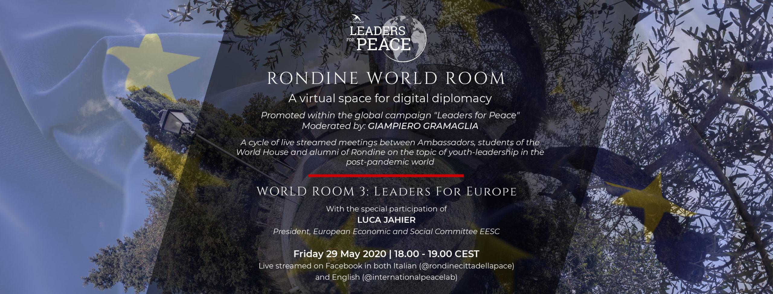"""""""Leaders for Europe"""". Luca Jahier (CESE) ospite d'eccezione del terzo incontro di Rondine World Room dedicato all'Europa"""