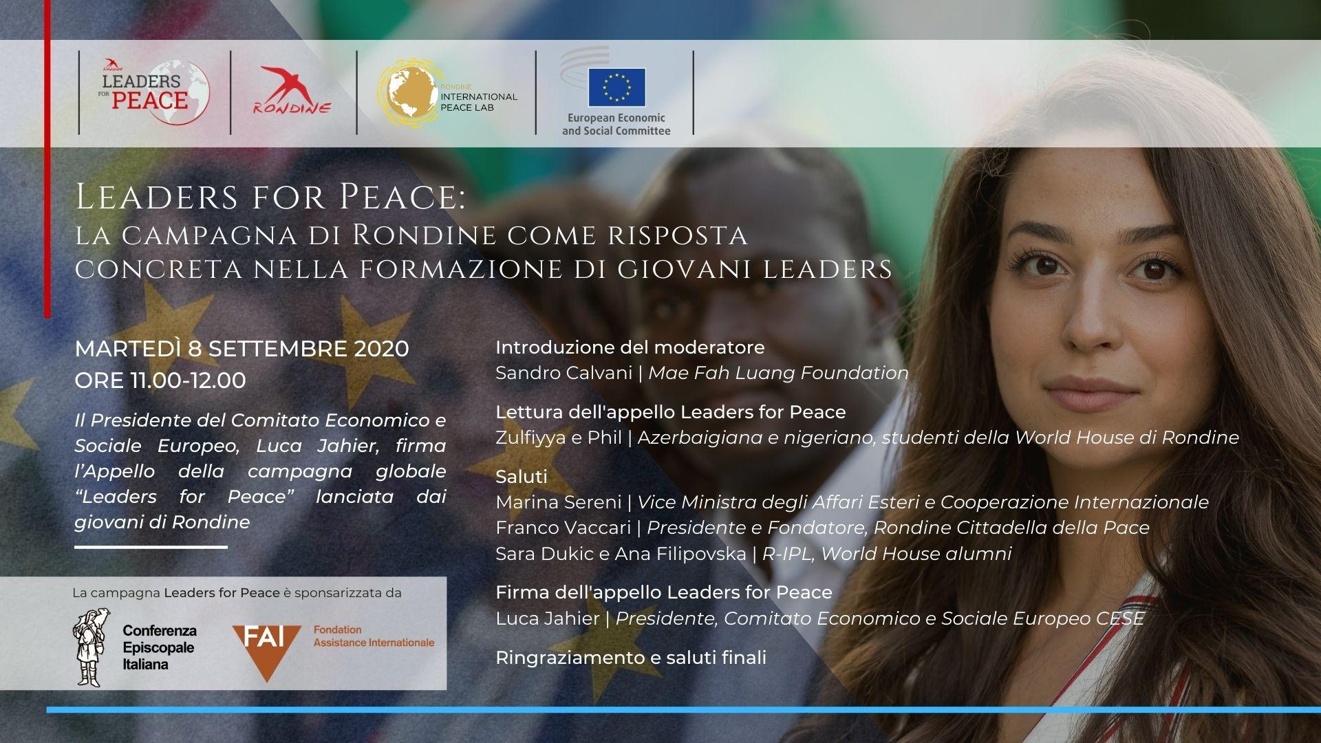 Leaders for Peace. Arriva il sostegno di Luca Jahier, presidente del Comitato Economico e Sociale Europeo