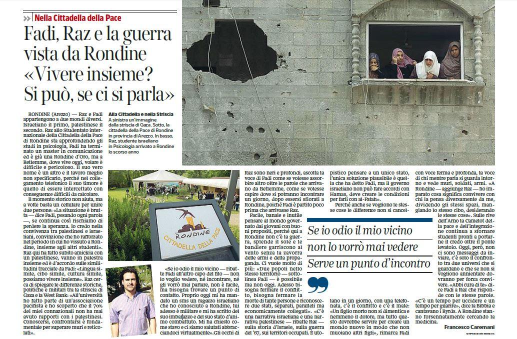 """Fadi e Raz, la guerra vista da Rondine. """"Vivere insieme? Si può se ci si parla"""""""