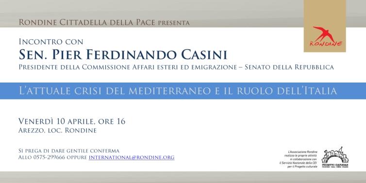 """""""L'attuale crisi del Mediterraneo e il ruolo dell'Italia"""". Incontro-dibattito con Pier Ferdinando Casini a Rondine"""