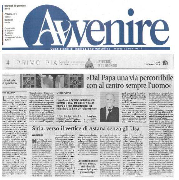 Avvenire. Il commento del presidente Franco Vaccari al discorso di Papa Francesco al Corpo diplomatico
