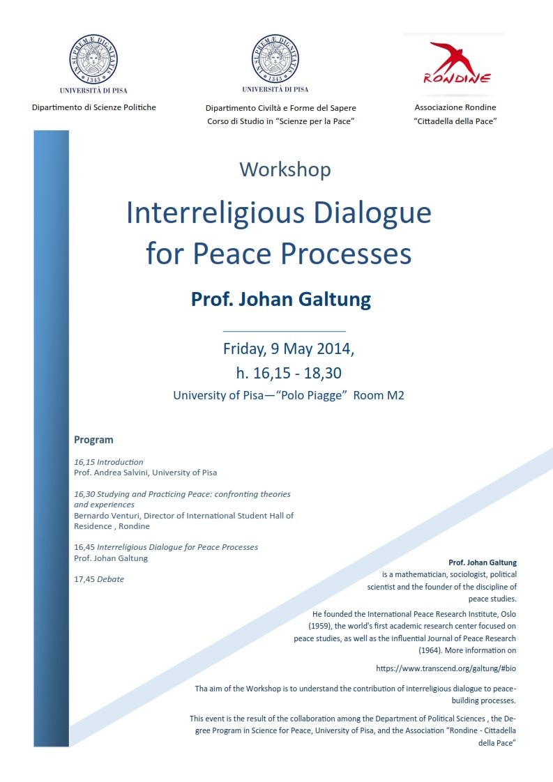 "Conferenza di Johan Galtung. ""Interreligious Dialogue for Peace Process"""