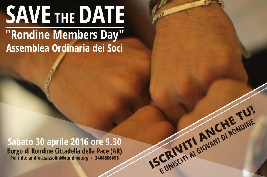 Il prossimo 30 aprile non mancare all'assemblea dei soci dell'associazione Rondine