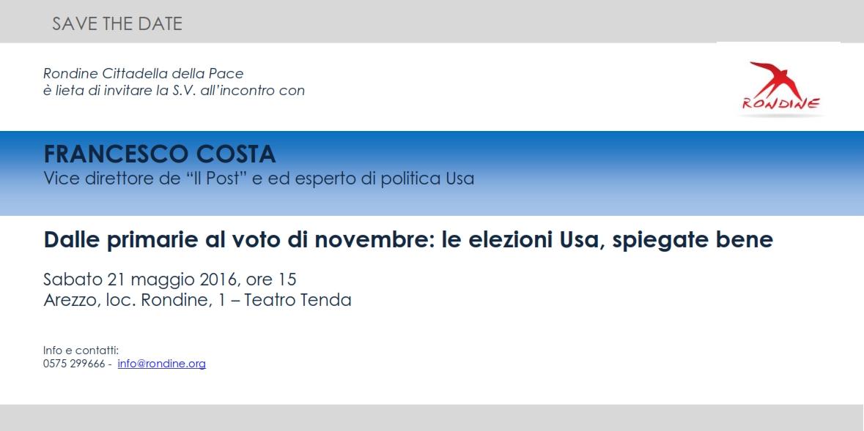 """Incontro con Francesco Costa. """"Dalle primarie al voto di novembre: le elezioni Usa, spiegate bene"""""""