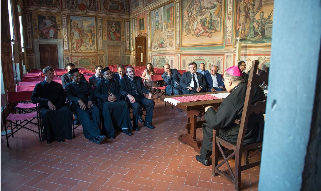 I teologi ortodossi del Comitè in visita all'Arcivescovo Fontana